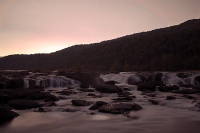 Sandstone Falls at Sunset