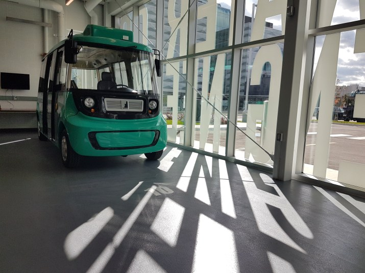Small driverless car at the University of Waterloo's autonomous vehicle lab