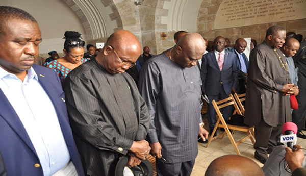 FROM LEFT: GOV GABRIEL SUSWAM OF BENUE STATE. GOV. MARTINS ELECHI OF ENONYI; CHIEF OF STAFF; CHIEF MIKE OGHIADOMHE; PRESIDENT GOODLUCK JONATHAN; GOV. THEODORE OF ABIA STATE; PRESIDENT, CHRISTIAN ASSOCIATION OF NIGERIA, PASTOR AYO ORITSEJAFOR AND THE EXECUTIVE SECRETARY, NIGERIAN CHRISTIAN PILGRIMS COMMISSION, MR JOHNKENNEDY OPARA PRAYING AT THE DOMINUS FLEVIT (THE PLACE WHERE JESUS WEPT)