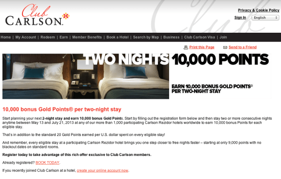 Club Carlson 10,000 Point Promotion