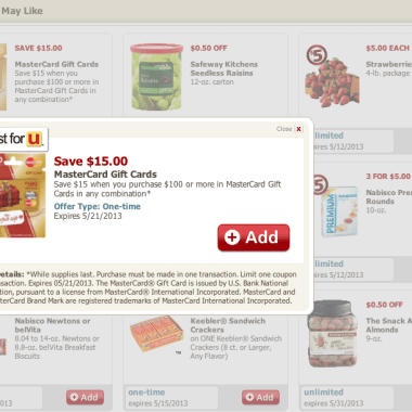 $15 off Mastercard Giftcards at Safeway