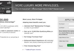 Citi Executive AAdvantage World Mastercard 100000 mile offer