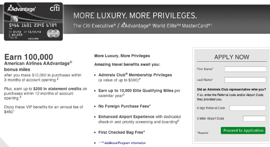 Citi AAdvantage Executive World Mastercard 100000 mile offer