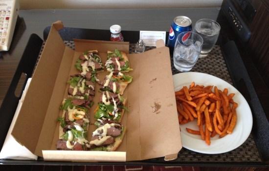 Flank Steak Flatbread with Sweet Potato Fries