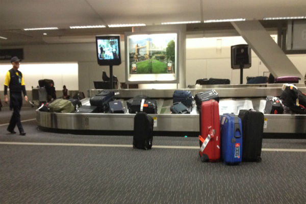 Bags piling up on the carousel at SFO