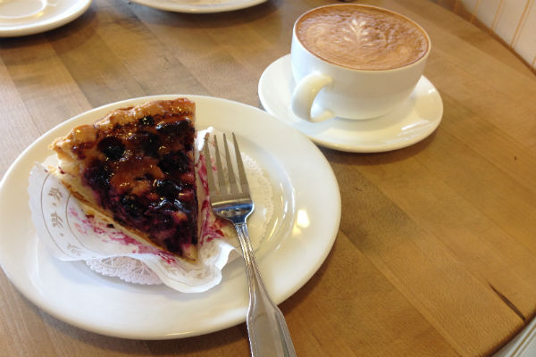 Tart and coffee at Le Panier