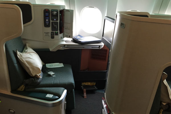 Cathay Pacific Business Class Seat on the A330-300 to Singapore