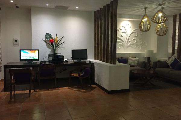 Computer station at 24 Hour Deli Cactus Hyatt Los Cabos