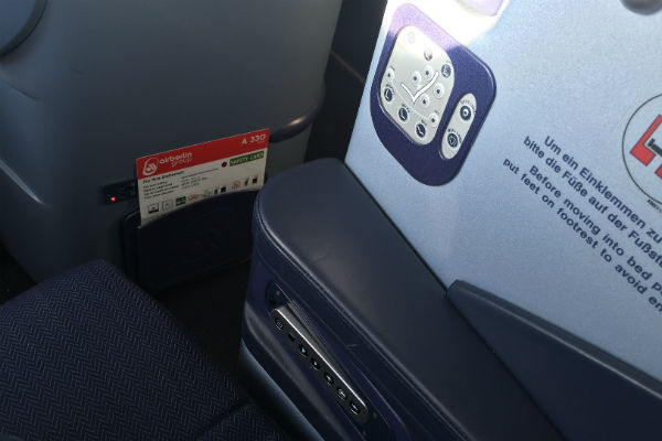 AirBerlin Business Class A330 Seat Controls SFO to DUS