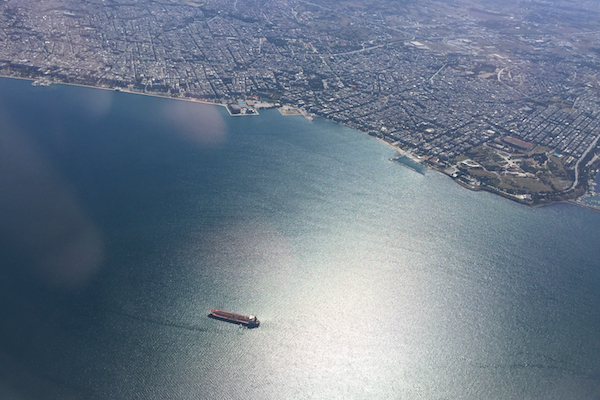 Flying over Thessaloniki on a Aegean Airlines flight to Paris