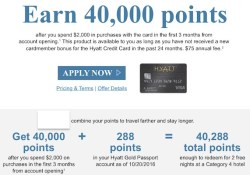 Chase Hyatt Visa targeted credit card sign-up bonus for 40000 points