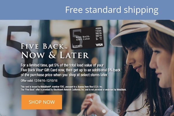 5 Percent Back Visa Deal on Gift Card Mall