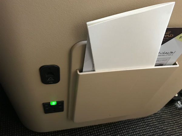 Etihad Business Class In-Seat Power Outlet and USB Port
