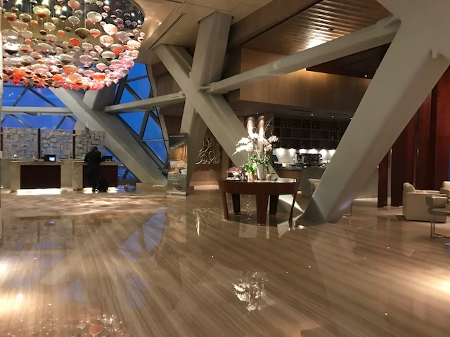 Stunning lobby of the Hyatt Capital Gate