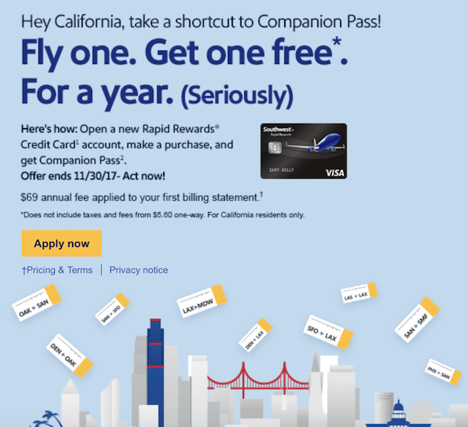 Earn the Southwest Companion Pass After a Single Credit Card Purchase!