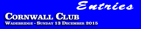Cornwall Club Point-To-Point, Sunday 13th December 2015 – entries and form guide,
