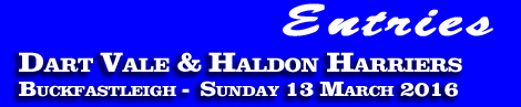 Entries: Dart Vale and Haldon Harriers Point-To-Point, Buckfastleigh, Sunday 13th March 2016