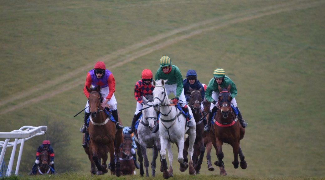 Jockeys and their mounts rise at the top of the hill in the Artemis Morgan Happiest When Hunting Devon and Cornwall Novice Riders Conditions race