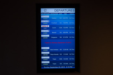 Star Alliance LAX lounge – information board