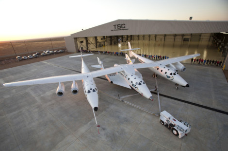 THE SPACESHIP<br /> COMPANY unveils its new and first final assembly facility. The<br /> hangar known as FAITH- (Final Assemmbly Integration Test Hangar).<br /> In the foreground is the mated pair, WhiteKnnight Two and SpaceShip<br /> Two.