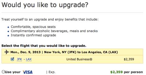 UA Upgrade JFK-LAX
