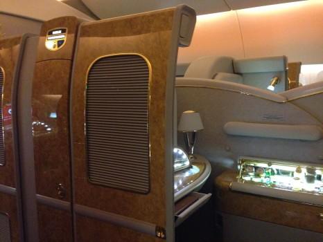 Emirates First Class DXB-MXP Dubai Milan 77711