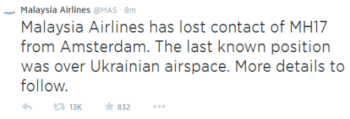 Malaysia Airlines Tweet