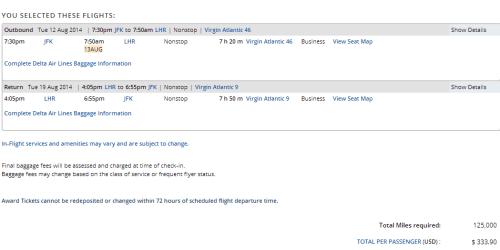 Delta Virgin Atlantic Fees
