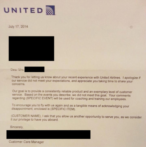 United Apology Letter Template