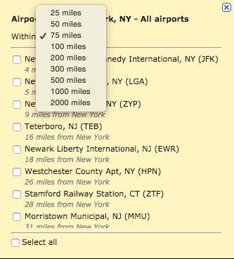 ITA Matrix Nearby Airport Functionality