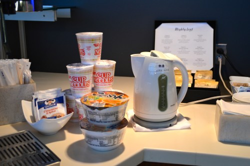 Instant noodles at the Lufthansa Senator Lounge in Washington Dulles (IAD)