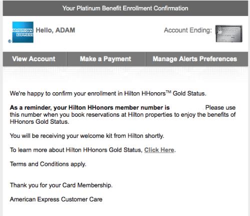Hilton AMEX Benefit