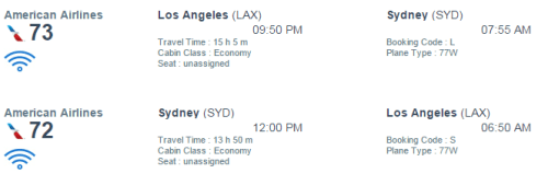 AA Syd Schedule