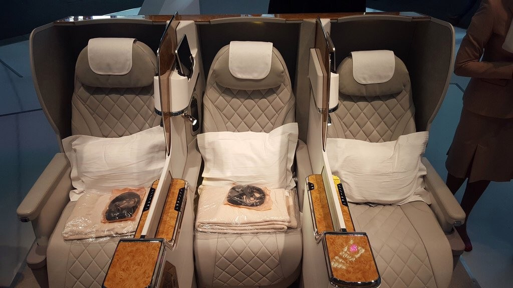 The new Emirates Business Class onboard the 777-300ER. Source: Emirates