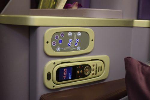Thai Airways 777 Business Class IFE seat controls