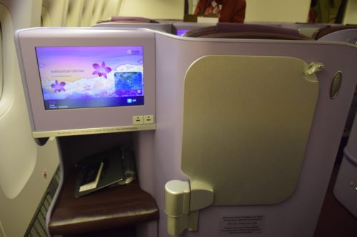 Thai Airways 777 Business Class dining work table