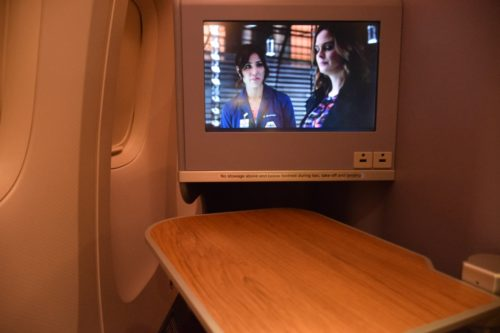 Thai Airways 777 Business Class table