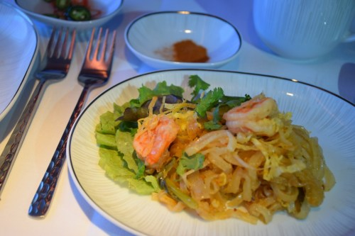 Thai Airways 777 Business Class pad thai