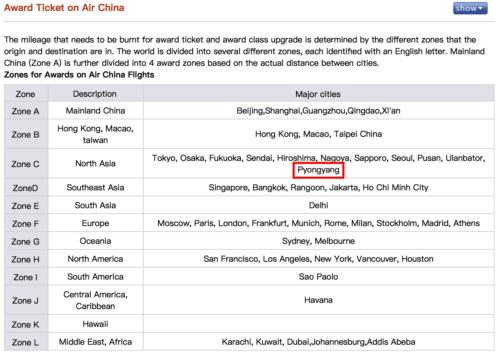 Air China Phoenix Miles Award Chart