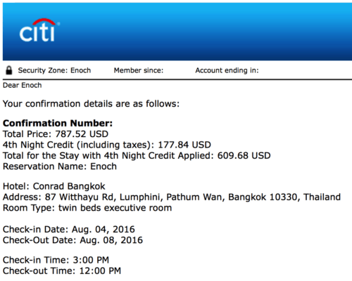 Using Citi Prestige's 4th Night Free Benefit