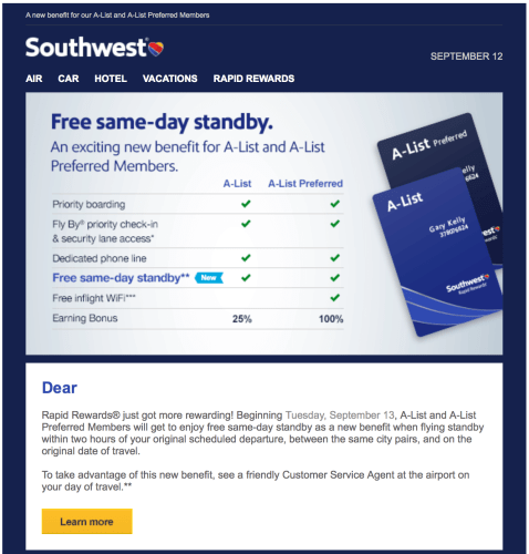 Southwest announces new free southwest standby benefit