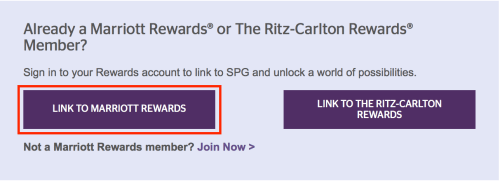 "Select ""Link to Marriott Rewards"""