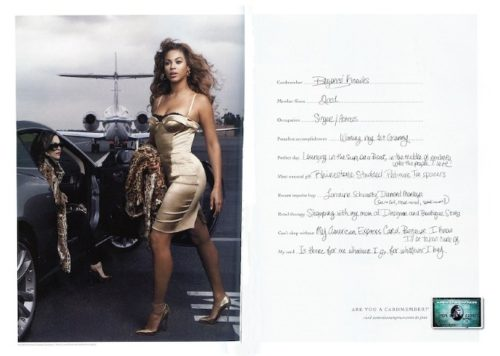 "Beyonce with AMEX's ""Are You a Cardmember"" Campaign, which also features Tina Fey"
