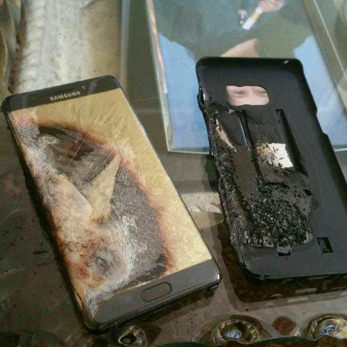 An allegedly exploded Samsung Galaxy Note 7
