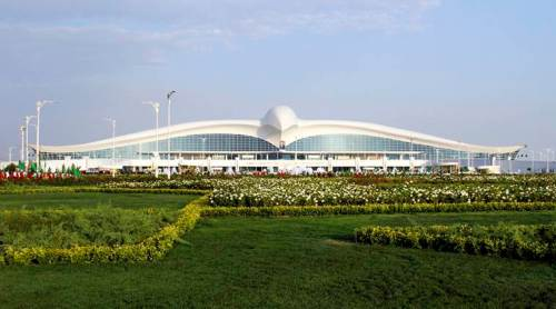 A view of the new international airport terminal outside Ashgabat. (AP Photo)