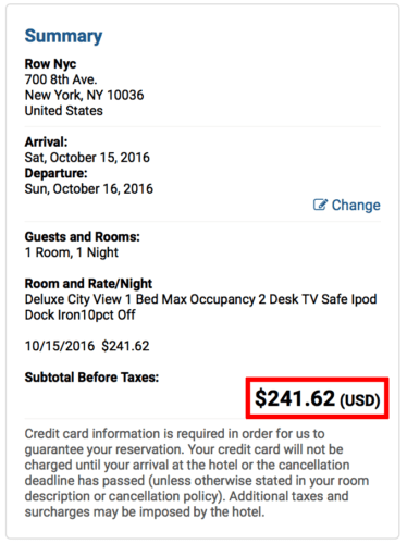 Super Shuttle has Row NYC Hotel for ~$25 cheaper than the hotel website