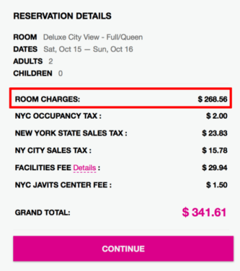 Row NYC Hotel's website quotes a higher rate than Hotels by SuperShuttle