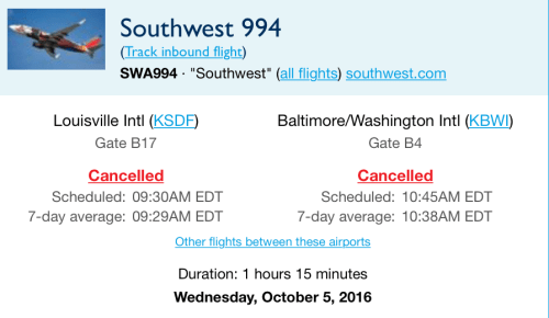 Southwest 994, from Louisville to Baltimore, was cancelled after smoke emerged from a Samsung Galaxy Note 7, prompting an evacuation.
