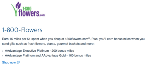 Earn 15 American Airlines miles per dollar at 1-800-Flowers, or more as an AA elite member.