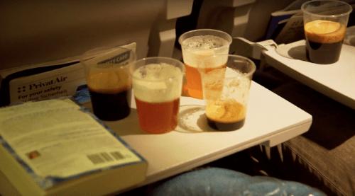 Mikkeller offered 5 different beers for tasting on an SAS flight. beer tasting